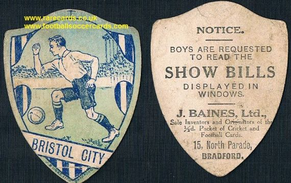 1914 Baines Ltd football card Bristol City monotone WW1 type